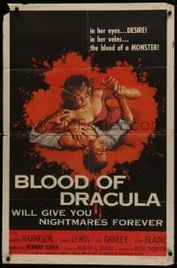 1b142 BLOOD OF DRACULA 1sh 1957 art of female vampire attacking male victim!