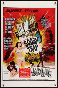 1b153 BOOBY TRAP 1sh 1970 action, explosive trip, A madman with the power to blow a city to hell!