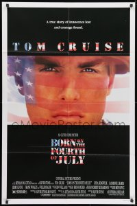 1b156 BORN ON THE FOURTH OF JULY 1sh 1989 Oliver Stone, great patriotic image of Tom Cruise!