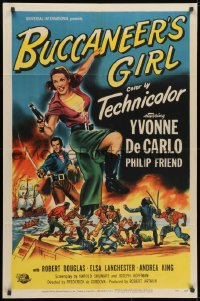 1b166 BUCCANEER'S GIRL 1sh 1950 Philip Friend, art of sexy pirate Yvonne DeCarlo!