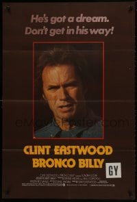1b005 BRONCO BILLY English 1sh 1980 Clint Eastwood, cool different close-up image & tagline!