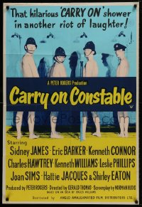 1b007 CARRY ON CONSTABLE English 1sh 1961 wacky art of naked English cops in the shower!