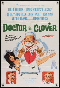 1b012 DOCTOR IN CLOVER English 1sh 1966 wacky artwork of doctor examining half-naked girl!