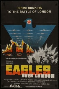 1b015 EAGLES OVER LONDON English 1sh 1973 Van Johnson, really cool artwork of WWII battles!