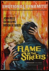 1b017 FLAME IN THE STREETS English 1sh 1961 John Mills, Sylvia Syms, interracial romance!