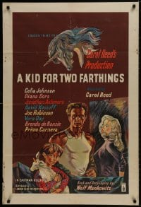 1b021 KID FOR TWO FARTHINGS English 1sh 1956 art of sexy Diana Dors, directed by Carol Reed!