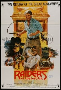 1b028 RAIDERS OF THE LOST ARK English 1sh R1982 great Brian Bysouth art of adventurer Harrison Ford!