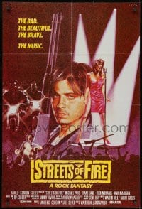 1b002 STREETS OF FIRE red style English 1sh 1984 the bad, the beautiful, the brave, the music!