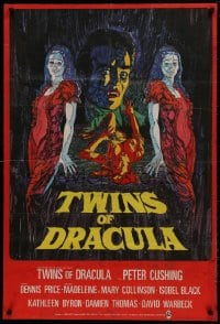 1b031 TWINS OF EVIL export English 1sh 1972 cool art of Madeleine & Mary Collinson, Dracula, Hammer!
