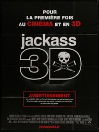 1c692 JACKASS 3D French 1p 2010 wacky stunts, great warning image with skull and crutches!