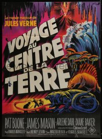 1c703 JOURNEY TO THE CENTER OF THE EARTH French 1p R1960s Jules Verne, different Grinsson art!
