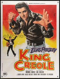 1c713 KING CREOLE French 1p R1980s great artwork of Elvis Presley in leather jacket by Jean Mascii!