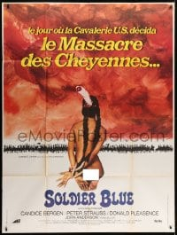1c902 SOLDIER BLUE French 1p 1971 wild different artwork of naked & bound Native American woman!