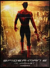 1c909 SPIDER-MAN 2 teaser DS French 1p 1904 Tobey Maguire in costume unmasked over city!