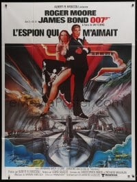 1c912 SPY WHO LOVED ME French 1p R1984 art of Roger Moore as James Bond & Barbara Bach by Bob Peak!