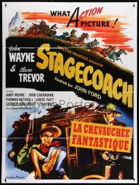 1c914 STAGECOACH French 1p R2010 art of John Wayne in the movie that made him a huge star!