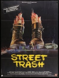 1c922 STREET TRASH French 1p 1987 completely different gruesome artwork of severed feet in boots!
