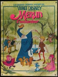 1c930 SWORD IN THE STONE French 1p R1970s Disney cartoon, young King Arthur & Merlin the Wizard!