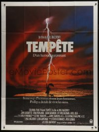 1c938 TEMPEST French 1p 1982 Paul Mazursky, art of man on beach being struck by lightning!