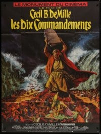 1c939 TEN COMMANDMENTS French 1p R1970s Cecil B. DeMille classic, art of Charlton Heston w/tablets!