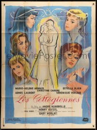 1c959 TWILIGHT GIRLS French 1p 1961 great art of Agnes Laurent & top cast + couple embracing!