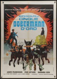 1c184 AMAZING DOBERMANS Italian 1p 1977 best different artwork of dogs carrying weapons & cash!
