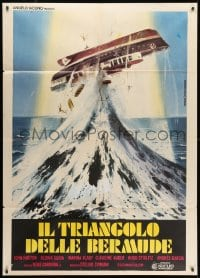 1c194 BERMUDA TRIANGLE Italian 1p 1978 wild Piovano art of ship tossed upside-down in the ocean!