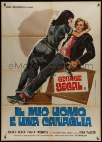 1c202 BORN TO WIN Italian 1p 1974 differnt art of sexy Karen Black seducing George Segal with gun!