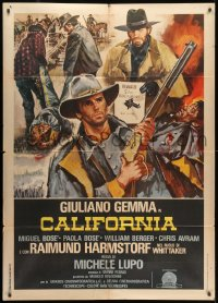 1c207 CALIFORNIA Italian 1p 1977 Giuliano Gemma, cool spaghetti western art with reward poster!