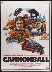 1c210 CANNONBALL Italian 1p 1977 David Carradine, sexy Veronica Hamel, trans-am car racing!