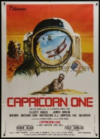 1c211 CAPRICORN ONE Italian 1p 1978 cool different art, what if the moon landing never happened!