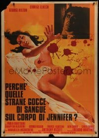1c213 CASE OF THE BLOODY IRIS Italian 1p 1972 artwork of sexy naked Edwige Fench covered in blood!