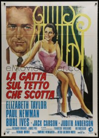 1c214 CAT ON A HOT TIN ROOF Italian 1p R1974 art of Liz Taylor & Paul Newman by Averardo Ciriello!