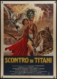 1c216 CLASH OF THE TITANS Italian 1p 1981 Harryhausen, different Napoli art of Hamlin w/Medusa head!