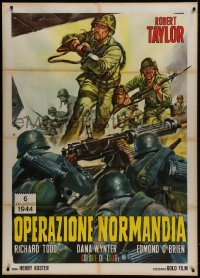 1c227 D-DAY THE SIXTH OF JUNE Italian 1p R1960s different Casaro art of Robert Taylor World War II!
