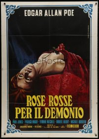 1c230 DEMONS OF THE MIND Italian 1p 1973 Hammer, Piovano art of dead woman covered in red w/ rose!
