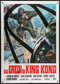 1c233 DESTROY ALL MONSTERS Italian 1p R1977 different art of King Kong seen from airplane cockpit!