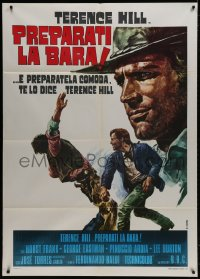 1c236 DJANGO PREPARE A COFFIN Italian 1p R1973 Casaro art of Terence Hill as Django fighting bad guy!