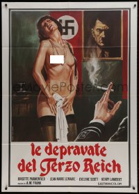 1c240 EAST OF BERLIN Italian 1p 1980 Jess Franco, art of depraved girl stripping for Nazi officer!