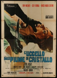 1c060 BIRD WITH THE CRYSTAL PLUMAGE Italian 2p 1970 Dario Argento, wild different art by P. Franco!