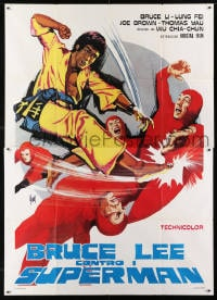 1c066 BRUCE LEE AGAINST SUPERMEN Italian 2p 1976 Yi Tao Chang, great Tino Aller kung fu art!