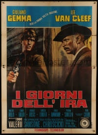 1c085 DAY OF ANGER Italian 2p 1967 close up of Lee Van Cleef & Giuliano Gemma, spaghetti western!