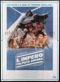 1c090 EMPIRE STRIKES BACK Italian 2p 1980 George Lucas sci-fi classic, cool artwork by Tom Jung!