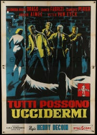 1c092 EVERYBODY WANTS TO KILL ME Italian 2p 1957 Symeoni art of top stars in alley by dead body!