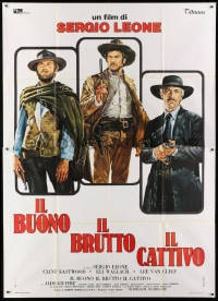 1c097 GOOD, THE BAD & THE UGLY Italian 2p R1970s Casaro art of Eastwood, Van Cleef & Wallach, Leone!