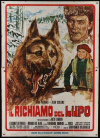 1c101 GREAT ADVENTURE Italian 2p 1975 art of Jack Palance & wolf, Jack London's Call of the Wild!