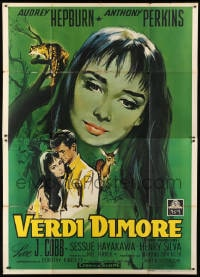 1c102 GREEN MANSIONS Italian 2p 1959 great art of Audrey Hepburn & Anthony Perkins, rare!