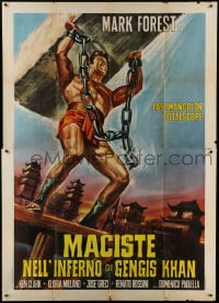 1c104 HERCULES AGAINST THE BARBARIAN Italian 2p R1960s cool different art of strongman Mark Forest!