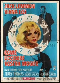 1c110 HOW TO MURDER YOUR WIFE Italian 2p 1965 Jack Lemmon, Virna Lisi, different clock artwork!