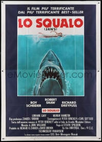 1c117 JAWS Italian 2p 1975 art of Spielberg's classic man-eating shark attacking sexy swimmer!